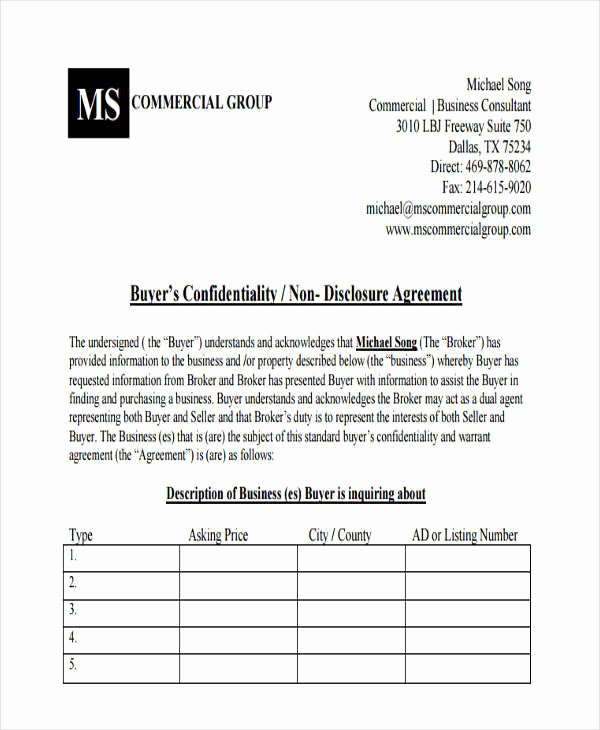 Real Estate Non Disclosure Agreement Inspirational 6 Sample Real Estate Confidentiality Agreements Free Sample Example format Download