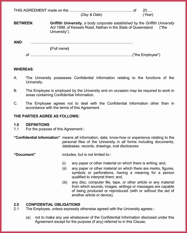 Real Estate Non Disclosure Agreement Lovely Basic Confidentiality Non Disclosure Agreement forms & Templates