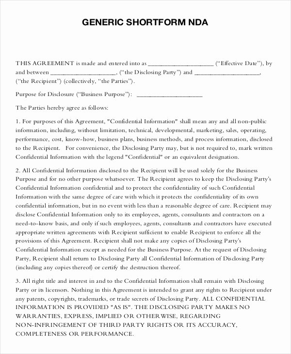 Real Estate Non Disclosure Agreement Luxury Mutual Non Disclosure Agreement form – 10 Free Word Pdf Documents Download