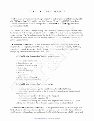 Real Estate Non Disclosure Agreement Luxury Non Disclosure Agreement Sample