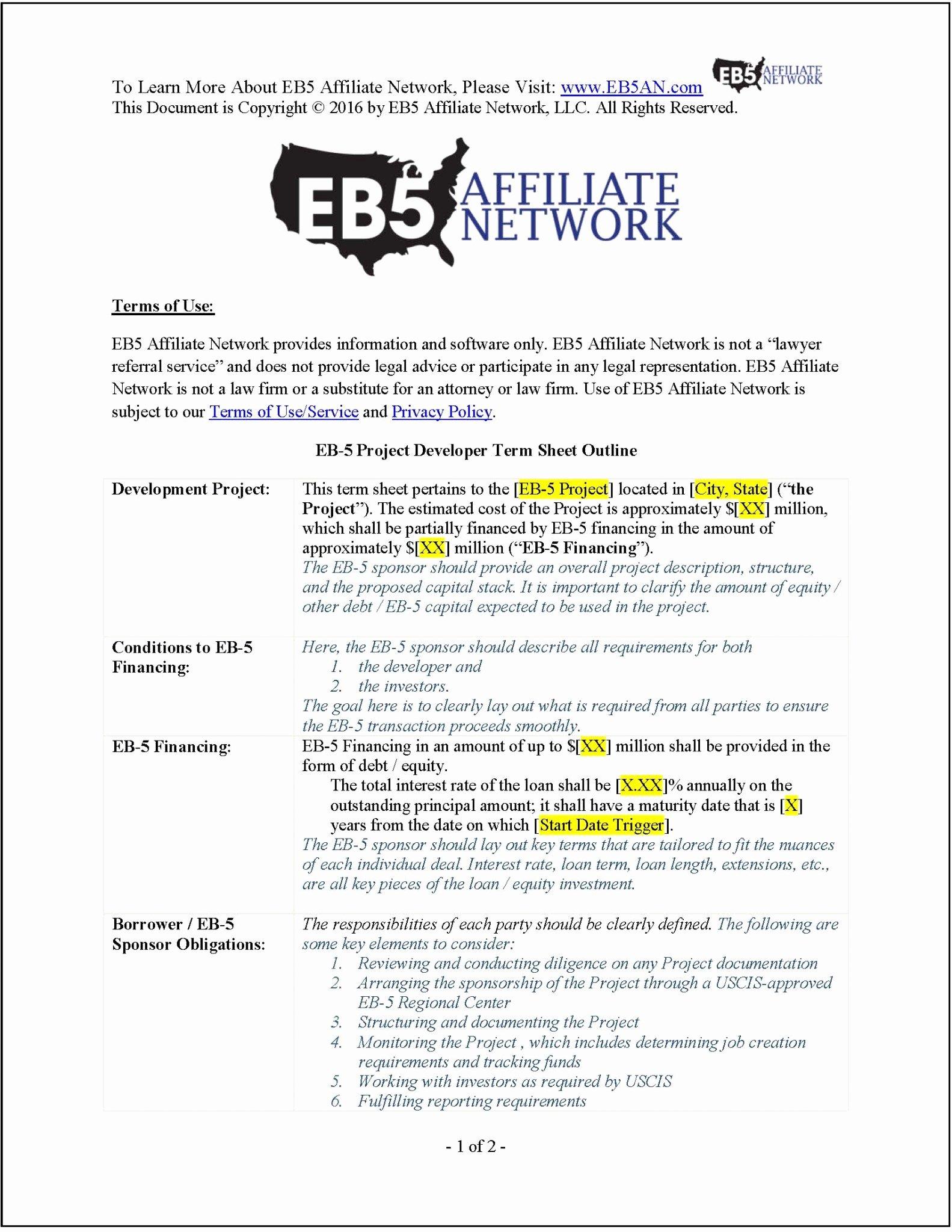 Real Estate Term Sheet Inspirational Sample Eb 5 Project Developer Term Sheet