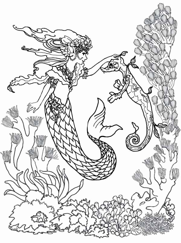 Realistic Mermaid Coloring Pages Beautiful Realistic Mermaid Coloring Pages