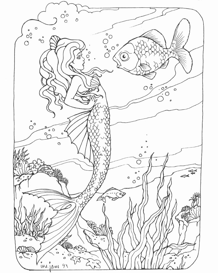 Realistic Mermaid Coloring Pages Inspirational Realistic Mermaid Coloring Pages for Adults Coloring Pages