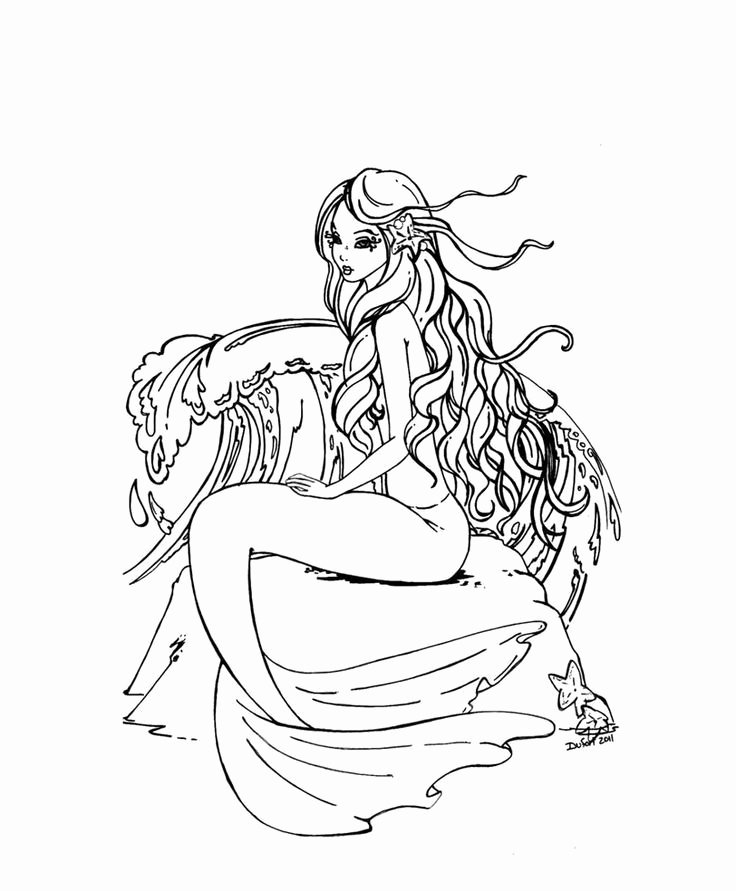 Realistic Mermaid Coloring Pages Lovely Pin by Rachel Wadell On Coloring Pages Mermaids to Color Pinterest