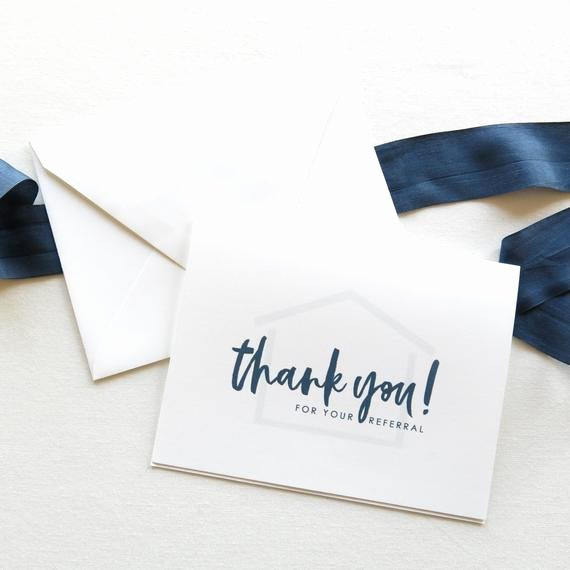 Realtor Thank You Notes Elegant Real Estate Agent Referral Thank You Cards Realtor Note