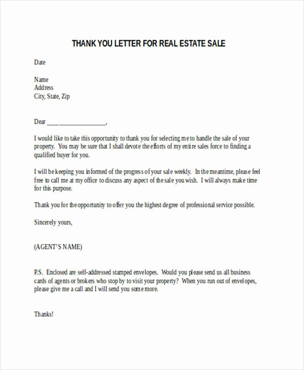 Realtor Thank You Notes Fresh Free 74 Thank You Letter Examples In Doc Pdf