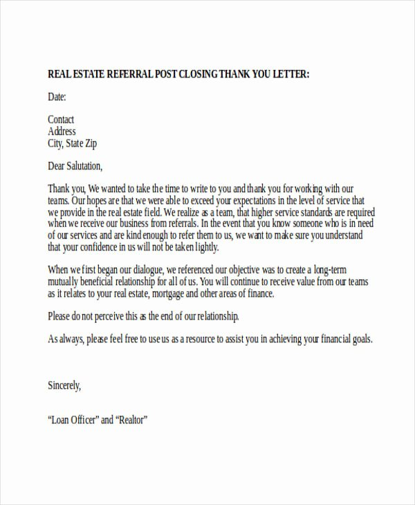 Realtor Thank You Notes Inspirational Free 74 Thank You Letter Examples In Doc Pdf