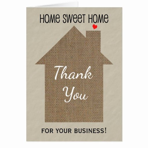 Realtor Thank You Notes Luxury Realtor Thank You Note Card with Burlap Look House