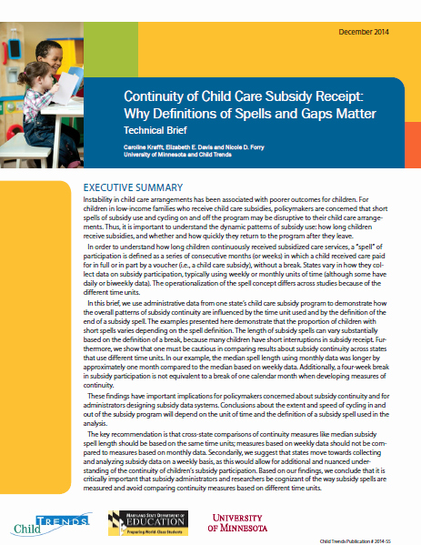 Receipt for Child Care Services Awesome Continuity Of Child Care Subsidy Receipt why Definitions Of Spells and Gaps Matter Child Trends