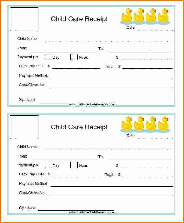 Receipt for Child Care Services Elegant 7 Childcare Receipt