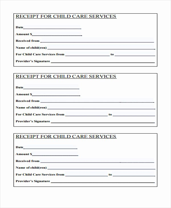 Receipt for Child Care Services Inspirational Free 40 Printable Receipt forms In Pdf