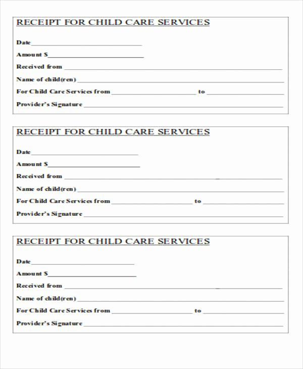 Receipt for Child Care Services New 39 Free Receipt forms