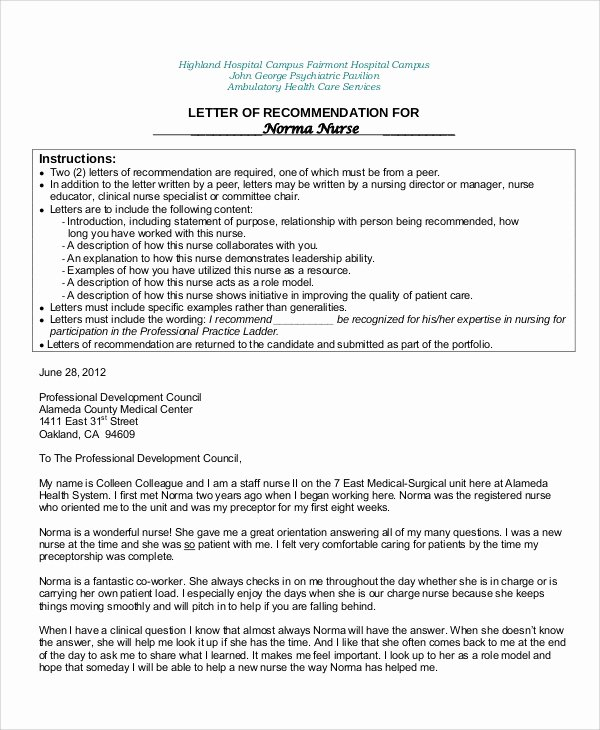 Recommendation Letter for Nursing School Best Of 8 Sample Nursing Re Mendation Letter Free Sample