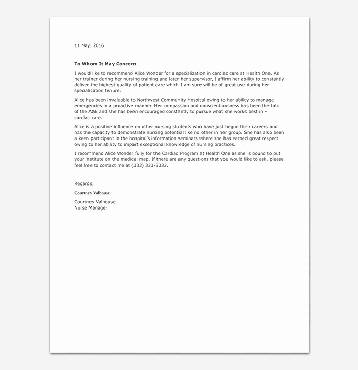 Recommendation Letter for Nursing School Best Of Nursing Reference Letter