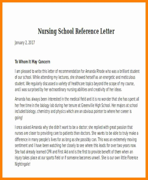 Recommendation Letter for Nursing School Fresh 5 Nursing School Re Mendation Letter From Employer