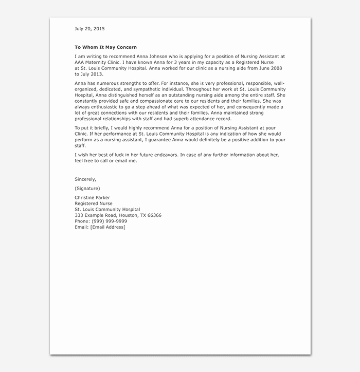 Recommendation Letter for Nursing School Lovely Nursing Reference Letter