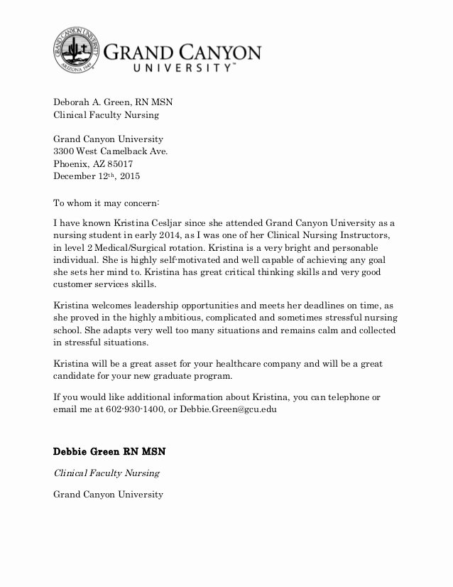 Recommendation Letter for Nursing School Luxury Re Mendation Letter for Kristina Cesljar