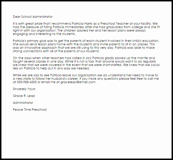 Reference Letter for Baby Sitter Elegant Letter Re Mendation for Babysitter