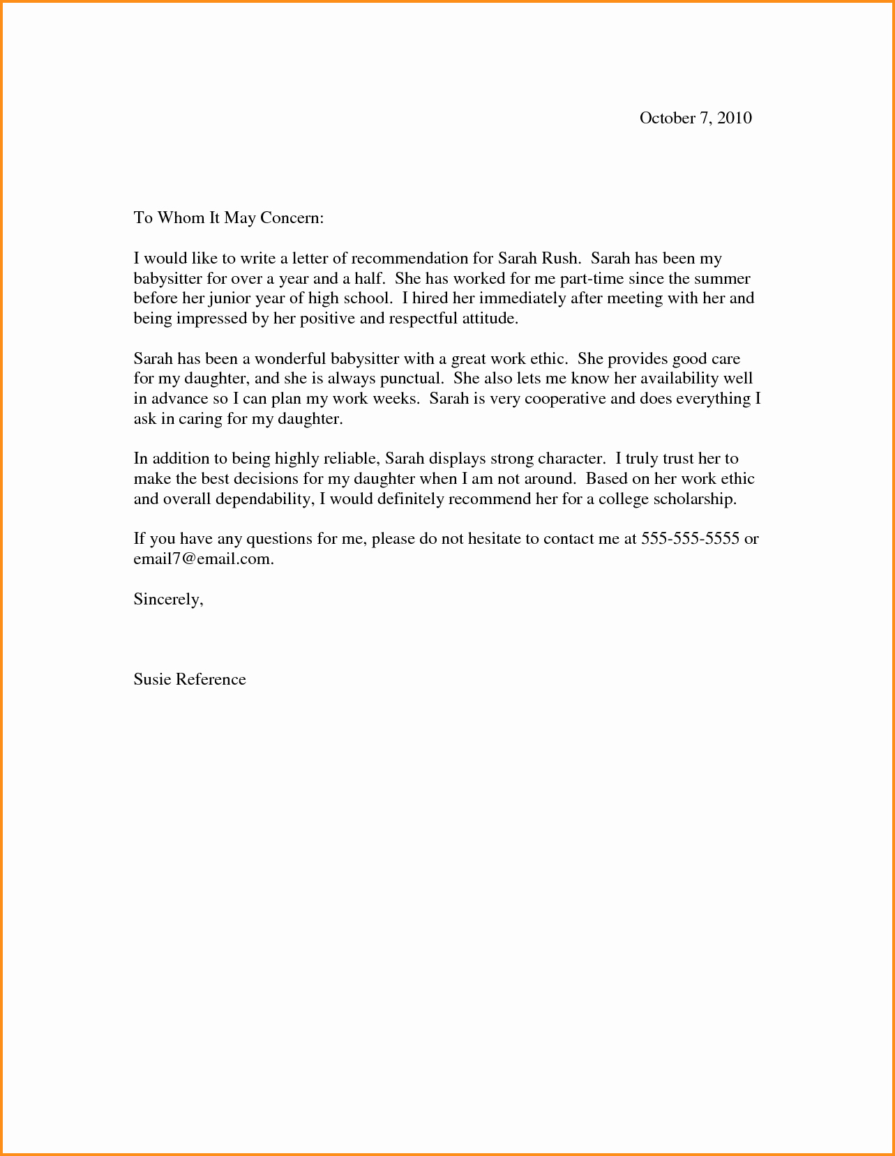 Reference Letter for Babysitter Best Of Letter Re Mendation for Babysitter