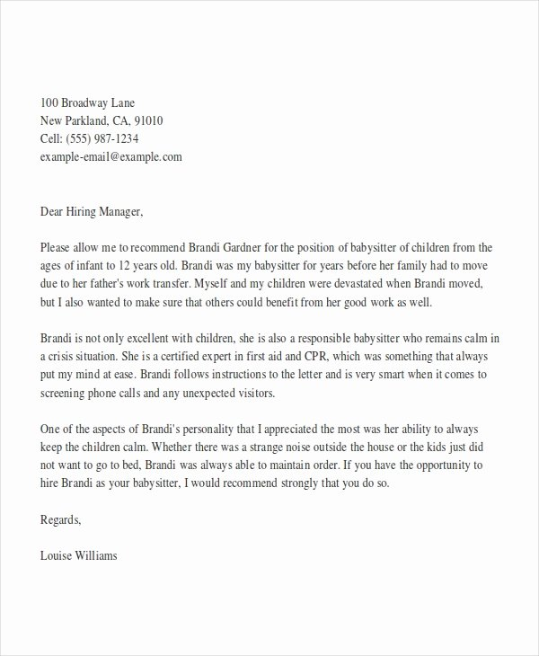 Reference Letter for Babysitter Lovely 8 Babysitter Reference Letter Templates Free Sample Example format