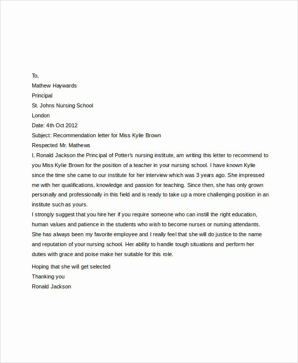 Reference Letter for Nursing School Beautiful Examples Of Re Mendation Letter