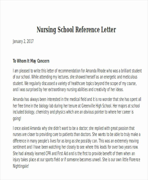 Reference Letter for Nursing School Luxury Nursing Reference Letter Templates 12 Free Word Pdf format Download
