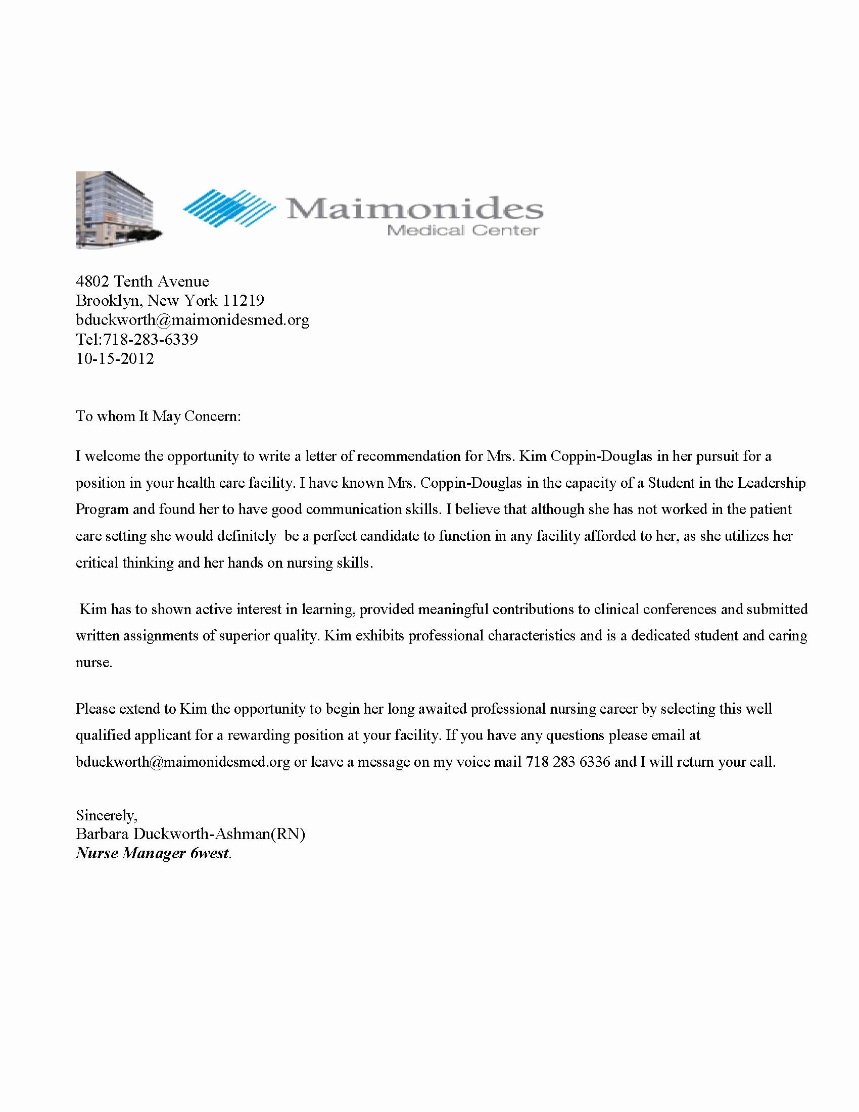 Reference Letter for Nursing School New Maimonides Medical Center