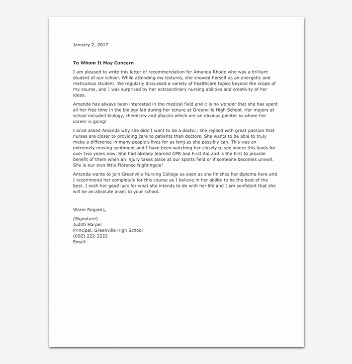 Reference Letter for Nursing School New School Reference Letter format & 15 Sample Letters