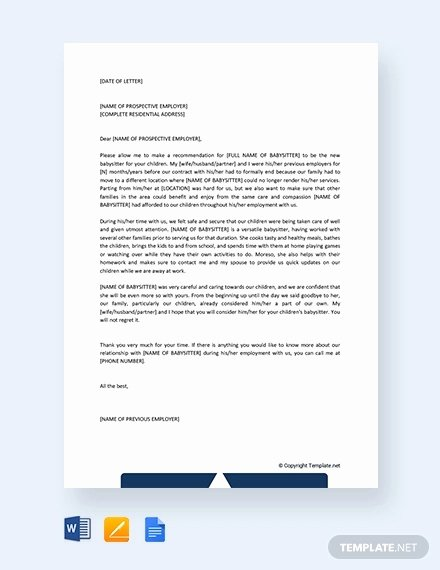 Reference Letters for Babysitters Beautiful 8 Babysitter Reference Letter Templates Free Sample Example format