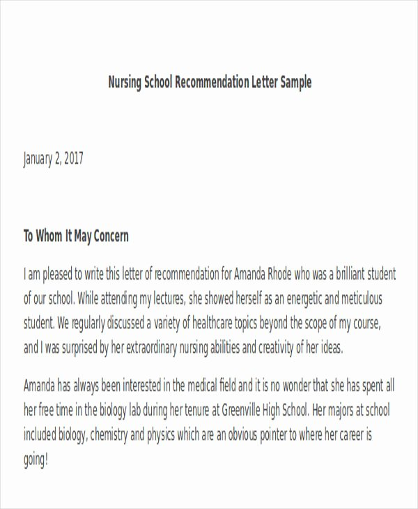 Reference Letters for Nursing School Beautiful 45 Free Re Mendation Letter Templates