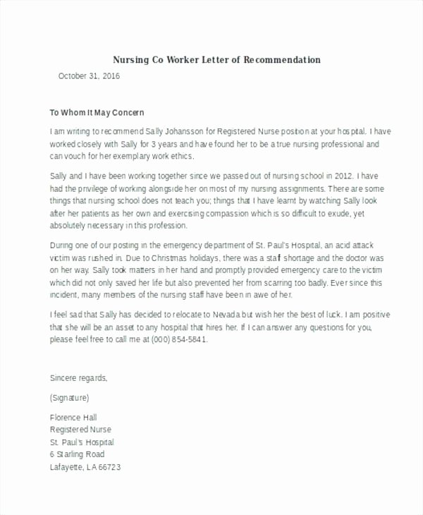 Reference Letters for Nursing School Beautiful 9 Letter Of Re Mendation for Nursing School Free Download