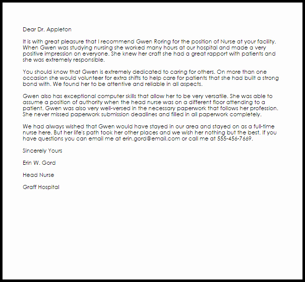 Reference Letters for Nursing School Elegant 20 Of Nursing Student Re Mendation Letter Template