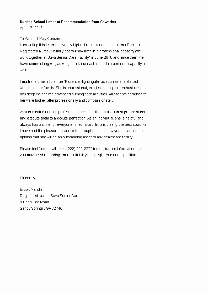 Reference Letters for Nursing School Fresh Nursing School Letter Of Re Mendation From Coworker How to Create A Nursing School Letter Of