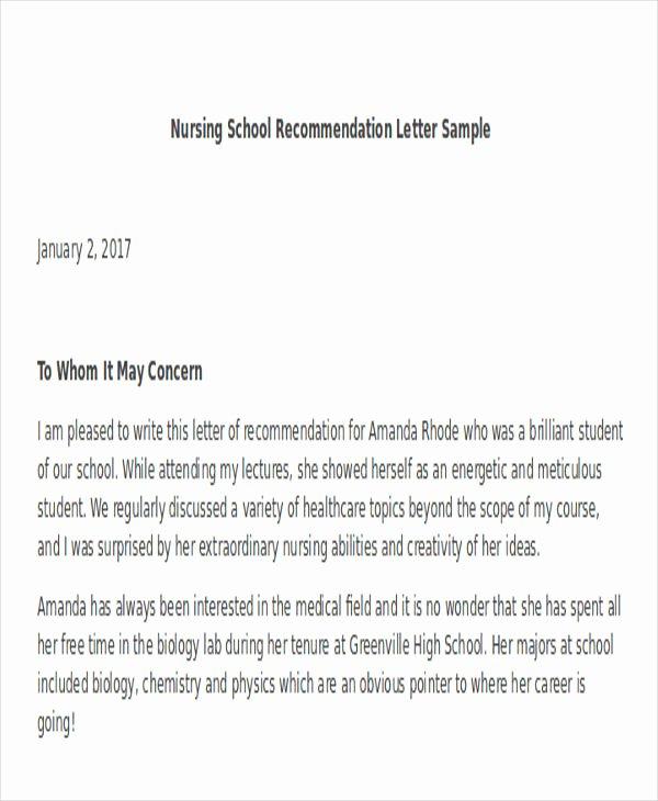 Reference Letters for Nursing School Fresh Nursing School Re Mendation Letter Template – Prahu