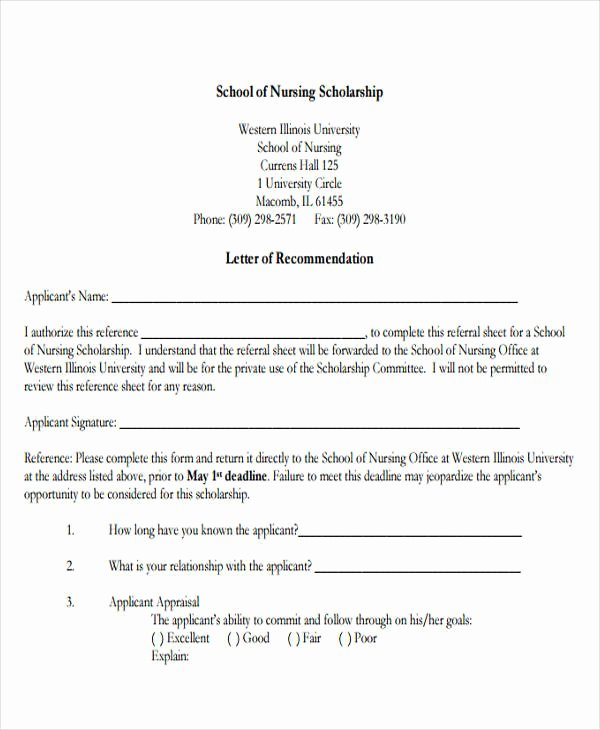 Reference Letters for Nursing School Lovely Nursing Reference Letter Templates 12 Free Word Pdf format Download