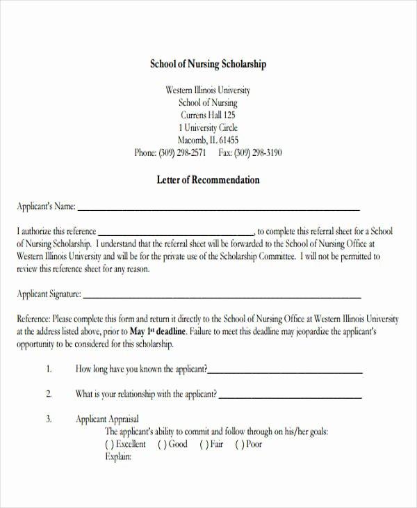 Reference Letters for Nursing School Lovely Nursing Reference Letter Templates 12 Free Word Pdf format Download