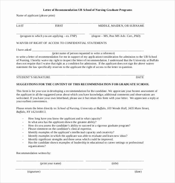 Reference Letters for Nursing School New 9 Letter Of Re Mendation for Nursing School Free Download