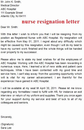 Registered Nurse Resignation Letter Awesome Resignation Letter Template October 2012