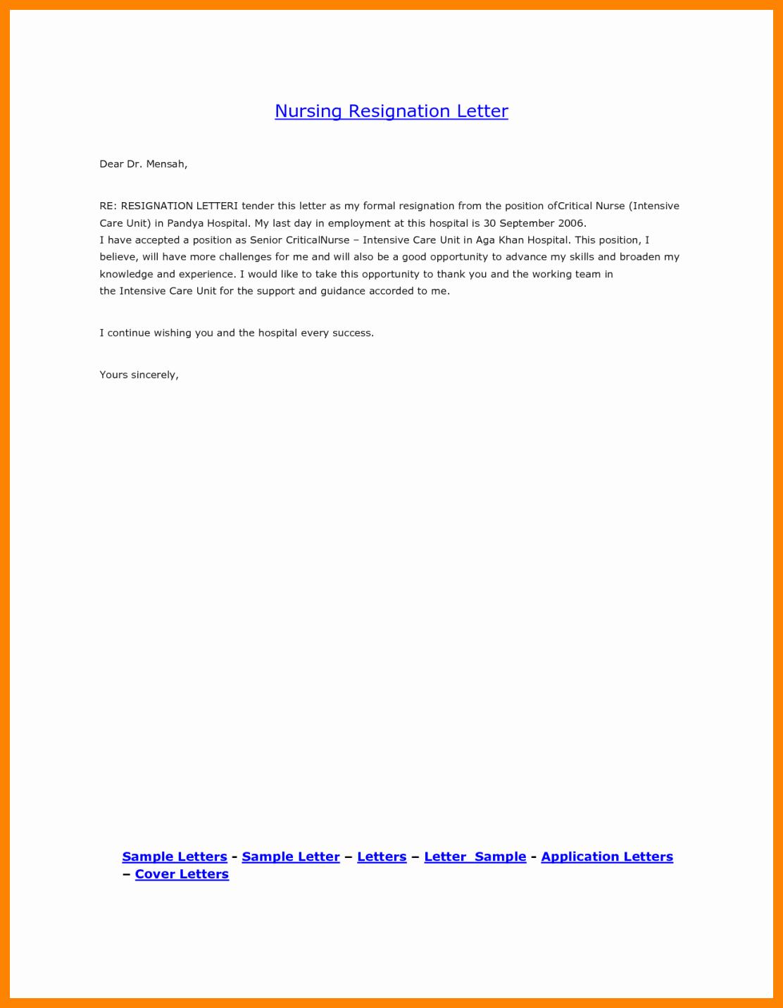 Registered Nurse Resignation Letter Best Of 8 Registered Nurse Resignation Letter Sample