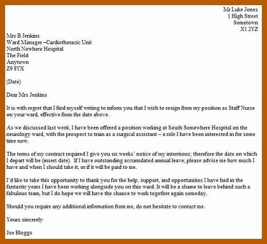 Registered Nurse Resignation Letter Elegant 7 8 Nursing Resignation Letter