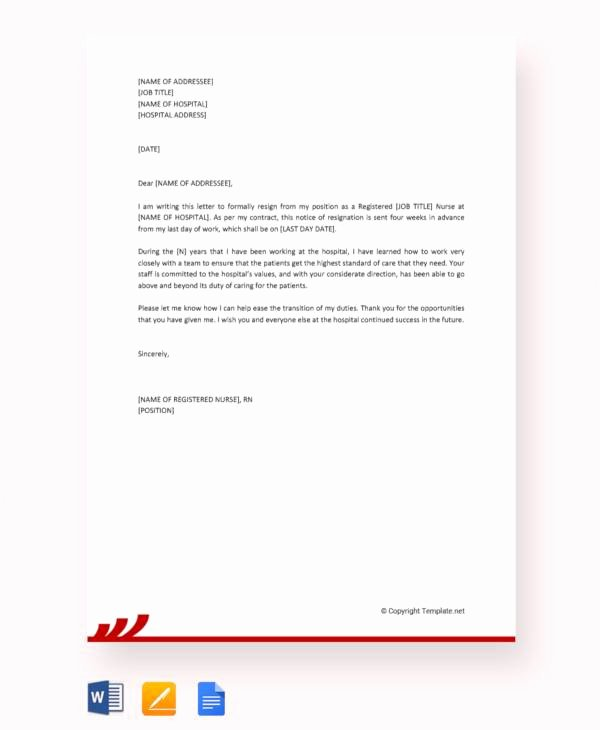 Registered Nurse Resignation Letter Inspirational 11 Sample Nursing Resignation Letters Pdf Word