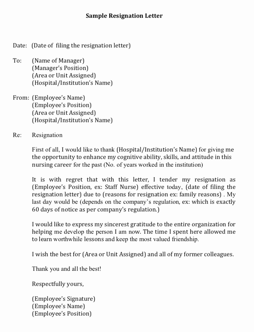 my first resignation as a filipino nurse in singapore with a sample letter of resignation
