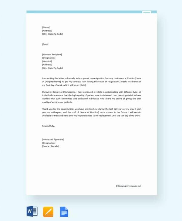 Registered Nurse Resignation Letter Unique Free 13 Nurse Resignation Letter Samples and Templates In Pdf