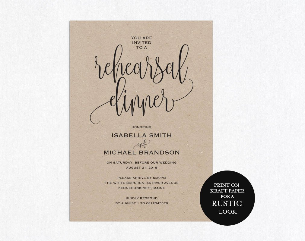 Rehearsal Dinner Invitation Template Awesome Rehearsal Dinner Invitation Template Rehearsal Printable