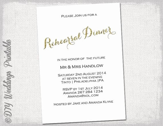 Rehearsal Dinner Invitation Template Beautiful Rehearsal Dinner Invitation Template Gold Glitter