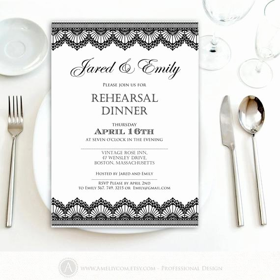 Rehearsal Dinner Invitation Template Fresh Rehearsal Dinner Invitation Printable Black Lace Weddings