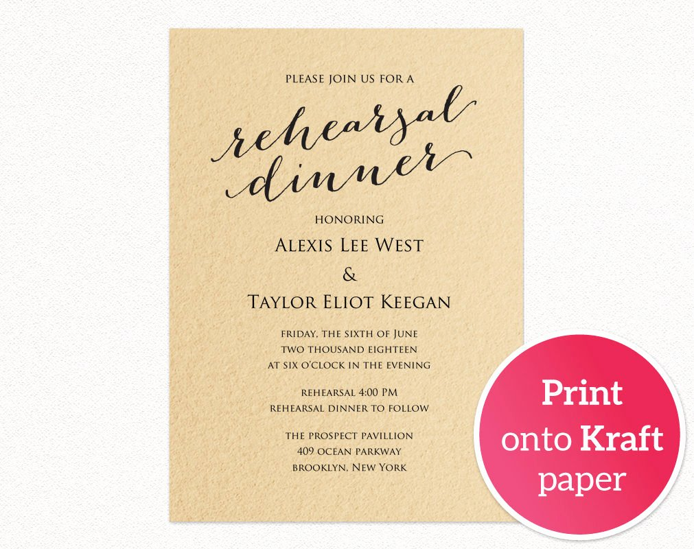 Rehearsal Dinner Invitation Template Fresh Rehearsal Dinner Invitation Template · Wedding Templates and Printables