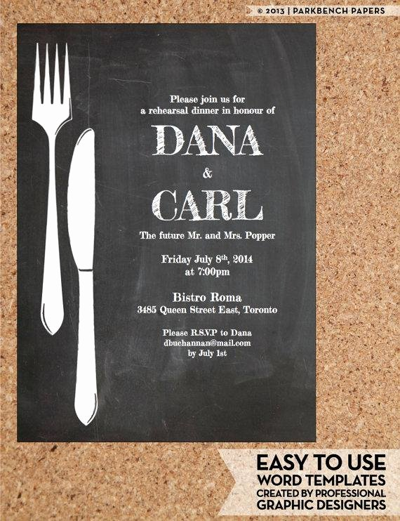 Rehearsal Dinner Invitation Template Word Best Of Rehearsal Dinner Invitation Chalkboard Chic Diy Word Template Instant Download Printable