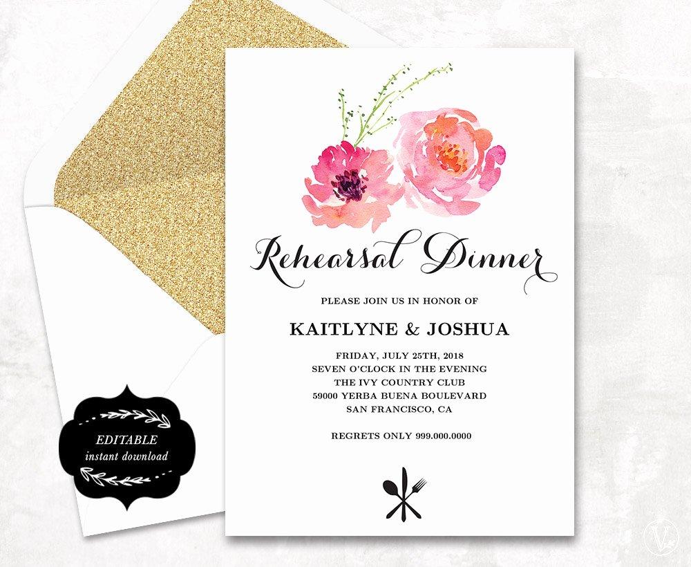 Rehearsal Dinner Invitation Template Word Inspirational Rehearsal Dinner Invitation Printable Wedding Rehearsal