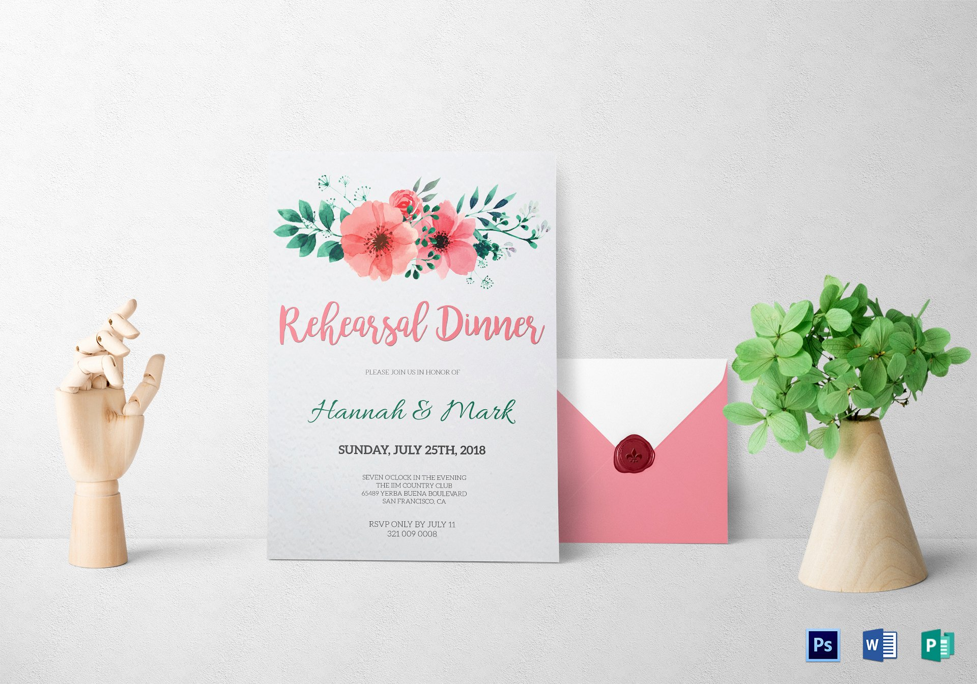 Rehearsal Dinner Invitation Template Word Luxury Floral Rehearsal Dinner Invitation Design Template In Word Psd Publisher